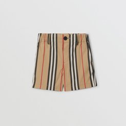 Childrens Icon Stripe Cotton Chino Shorts, Size: 6M, Beige