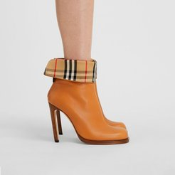 Vintage Check-lined Leather Ankle Boots, Size: 37, Orange