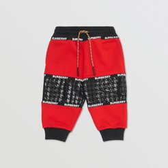 Childrens Houndstooth Check Panel Cotton Jogging Pants, Size: 2Y, Red
