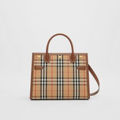 Small Vintage Check Two-handle Title Bag, Beige