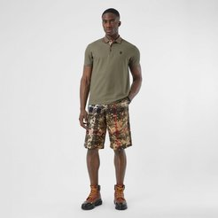 Camouflage Check Cotton Twill Tailored Shorts, Size: 38, Beige