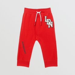 Childrens Logo Graphic Cotton Trackpants, Size: 12M, Red