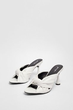 Faux Leather Twisted Mules - White