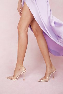 Clear Pointed Pin Stiletto Heel Court Shoes - Cream