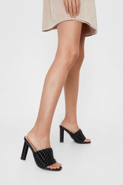 Faux Leather Knotted Heeled Mules - Black