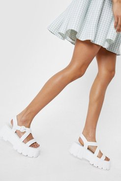 Faux Leather Crossover Cleated Chunky Sandals - White