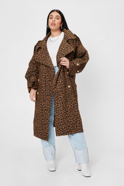 Plus Size Leopard Print Belted Trench Coat - Brown