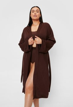 Plus Size Ribbed Belted Longline Robe - Chocolate