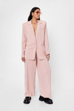 High Waisted Wide Leg Trousers - Pink