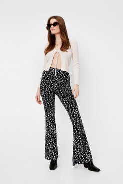 Ditsy Floral Print High Waisted Flared Trousers - Black