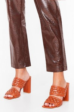 Woven Faux Leather Heeled Mules - Brown