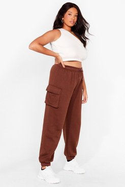 As Easy As That Plus High-Waisted Joggers - Chocolate