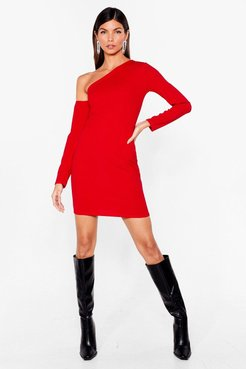 Cold Shoulder Long Sleeve Bodycon Dress - Red