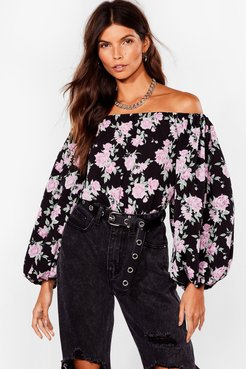 Grow Our Worth Floral Off-the-Shoulder Blouse - Black