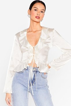 Frill We Work It Out Satin Tie Blouse - Cream