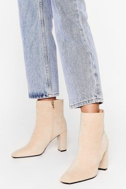 Go Toe to Toe Faux Suede Ankle Boots - Beige