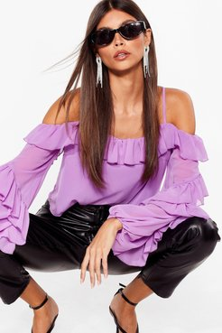 Sparks Frill Fly Chiffon Cold Shoulder Blouse - Purple