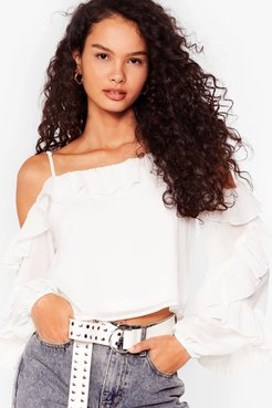 Sparks Frill Fly Chiffon Cold Shoulder Blouse - White
