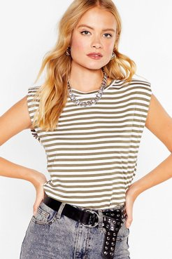 It's Not All Shoulder Pad Striped Tee - Khaki