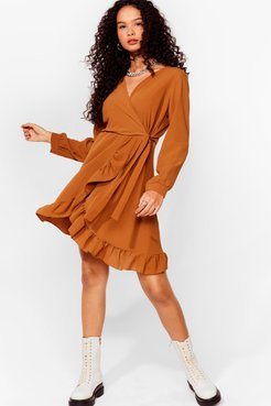 Frill of the Chase Wrap Mini Dress - Camel