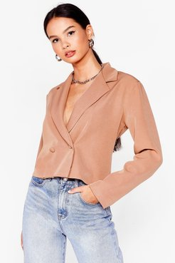 Stop Short Cropped Double Breasted Blazer - Tan