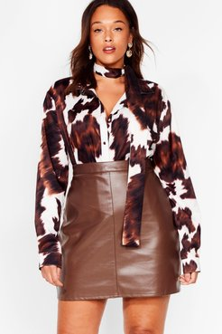 The Hustle Plus Faux Leather Mini Skirt - Chocolate