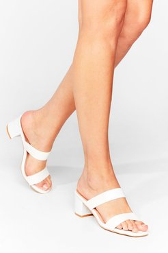 Strap Back to Reality Croc Heeled Mules - White