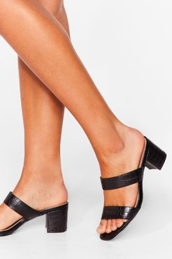Give It a Faux Leather Strappy Mules - Black