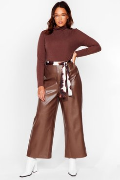 The Hustle Plus Faux Leather Cropped Pants - Chocolate