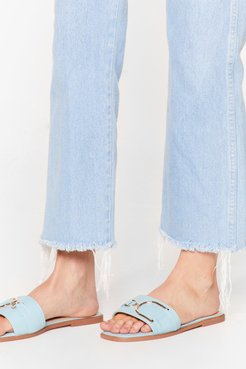 ODD BUCKLE SQUARE TOE FLAT MULES - Blue