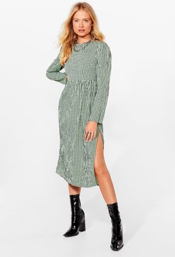 Check It Right Gingham Midi Dress - Green