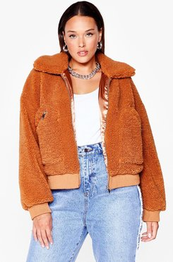 Plus Size Cropped Teddy Jacket - Toffee