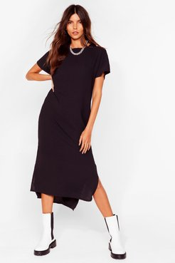 Slits Up to You Crew Neck Midi Dress - Black
