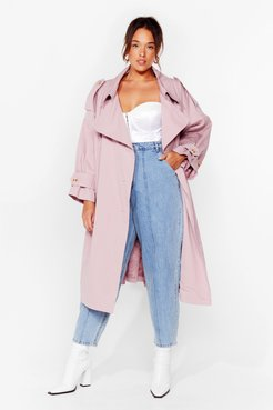Cover Your Basics Plus Belted Trench Coat - Pink