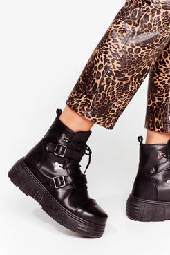 We Don't Give a Buck-le Faux Leather Chunky Boots - Black