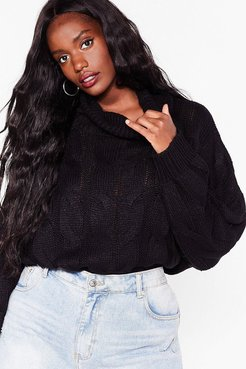 Plus Size Knitted Oversized Sweater - Black