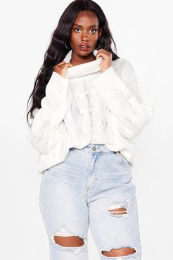Plus Size Knitted Oversized Sweater - Ivory