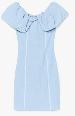 Here Comes the Sun Textured Mini Dress - Cornflower Blue