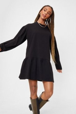 Drop What You're Doing Relaxed Mini Dress - Black