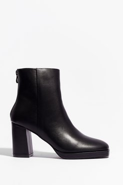 Faux Leather Say Faux Leather Heeled Ankle Boots - Black