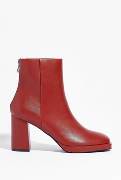 Faux Leather Say Faux Leather Heeled Ankle Boots - Cognac