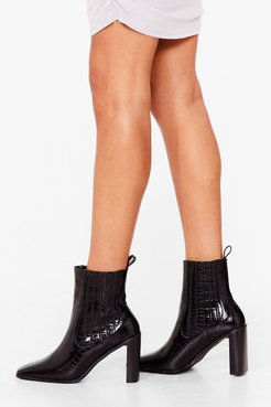 Pointed Croc Heeled Boots - Black
