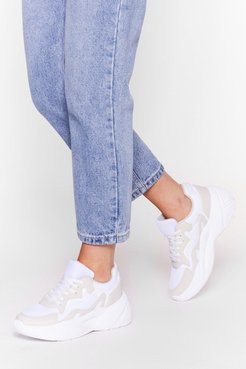 Mesh Kick It Colorblock Chunky Sneakers - Beige