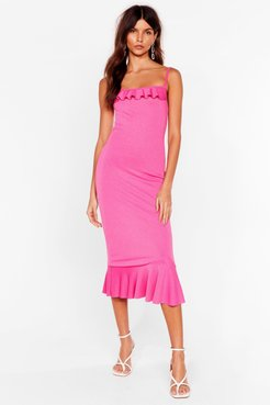 Slinky Ruffle Bodycon Midi Dress - Hot Pink