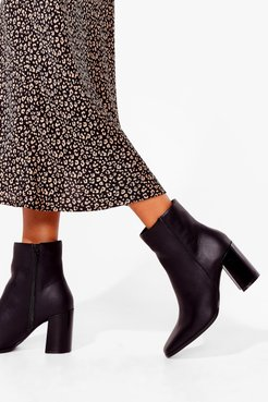 How Does It Heel Faux Leather Ankle Boots - Black