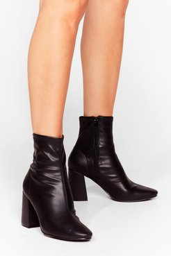Sock on the Agenda Faux Leather Ankle Boots - Black