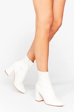 Sock on the Agenda Faux Leather Ankle Boots - White