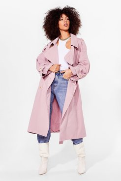 Cover Your Basics Belted Trench Coat - Pink