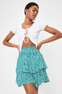 Did You Spot That Shirred Mini Skirt - Green