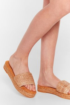 Straw the Line Woven Platform Sandals - Natural